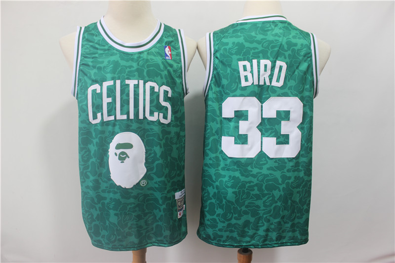Celtics Bape 33 Larry Bird Green Hardwood Classics Jersey