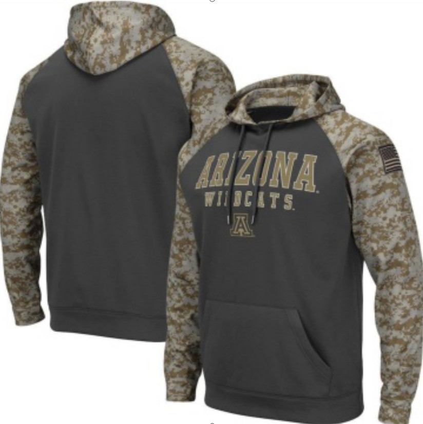 Arizona Wildcats Gray Camo Men's Pullover Hoodie
