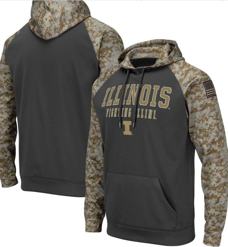 Illinois Fighting Illini Gray Camo Men's Pullover Hoodie