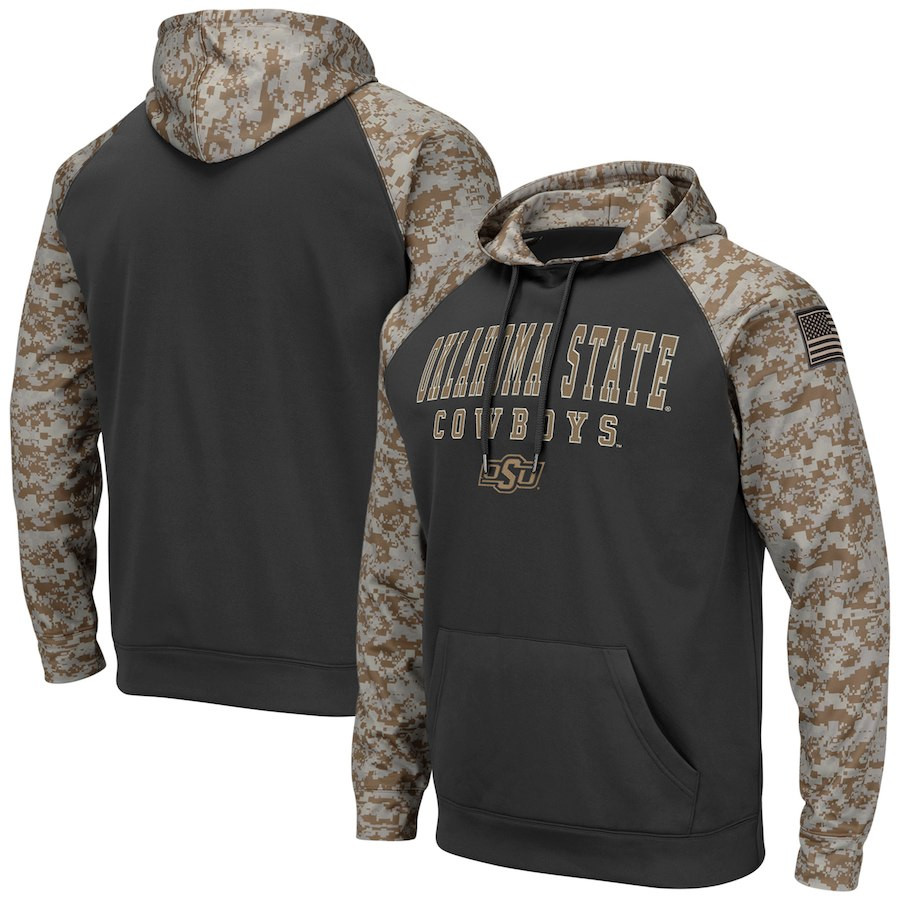 Oklahoma State Cowboys Gray Camo Men's Pullover Hoodie