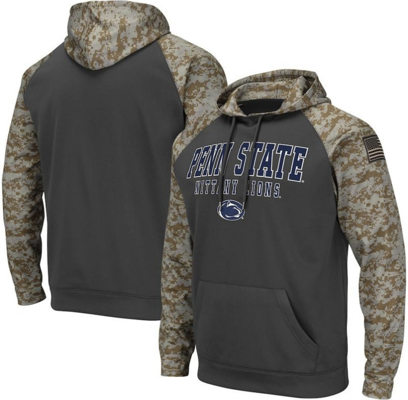 Penn State Nittany Lions Gray Camo Men's Pullover Hoodie
