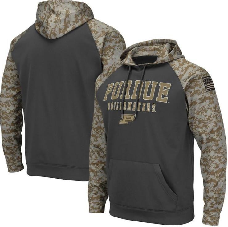 Purdue Boilermakers Gray Camo Men's Pullover Hoodie