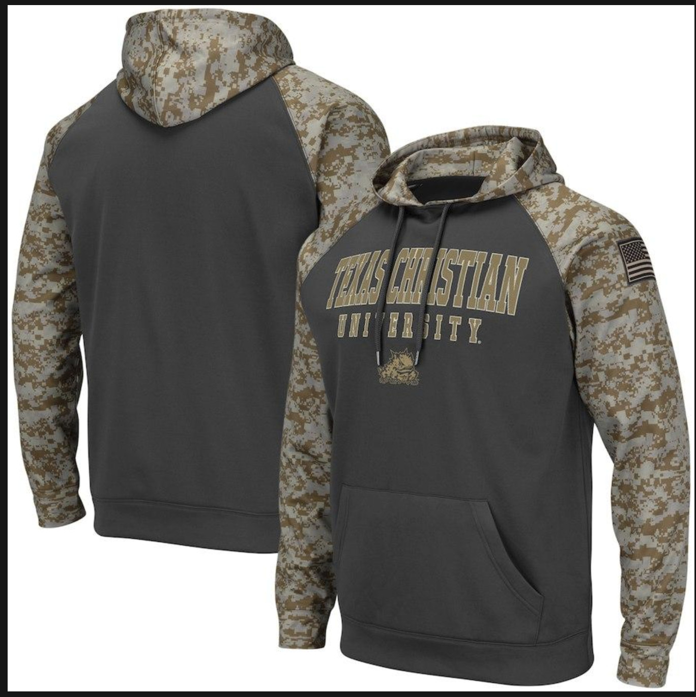 Texas Christian University Gray Camo Men's Pullover Hoodie