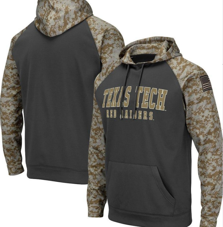 Texas Tech Red Raiders Gray Camo Men's Pullover Hoodie