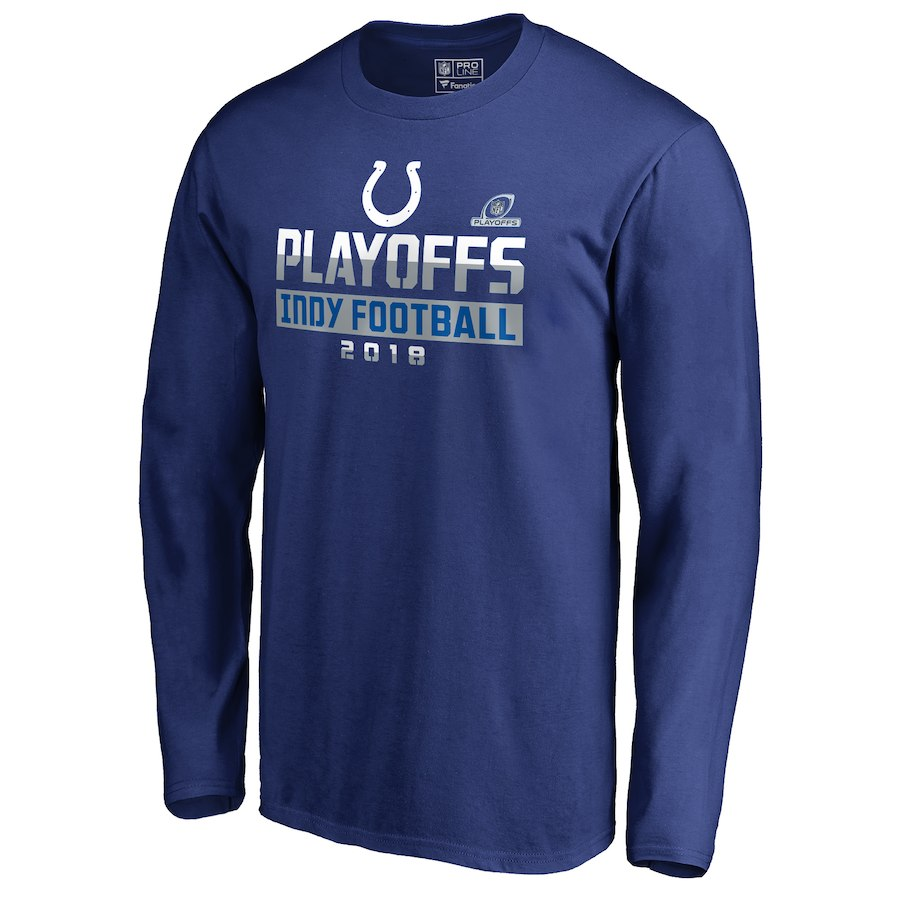 Colts Blue 2018 NFL Playoffs Indy Football Men's Long Sleeve T-Shirt