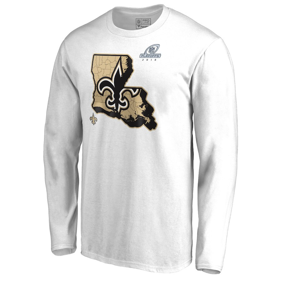 Saints White 2018 NFL Playoffs Men's Long Sleeve T-Shirt