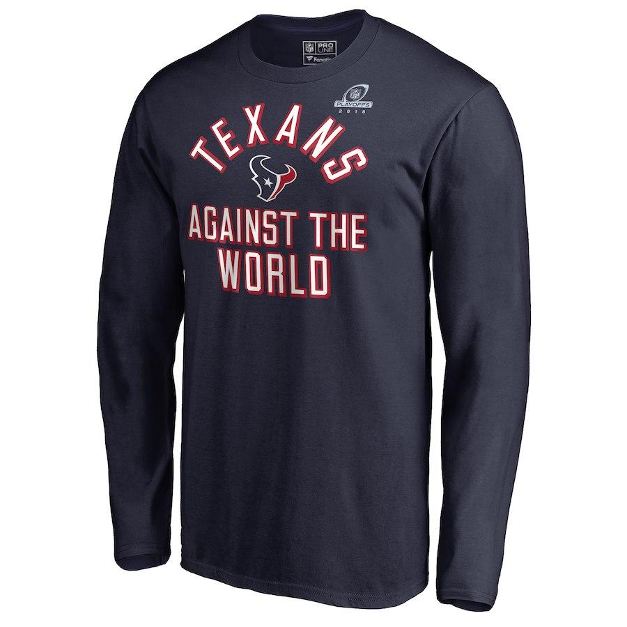 Texans Navy 2018 NFL Playoffs Against The World Men's Long Sleeve T-Shirt