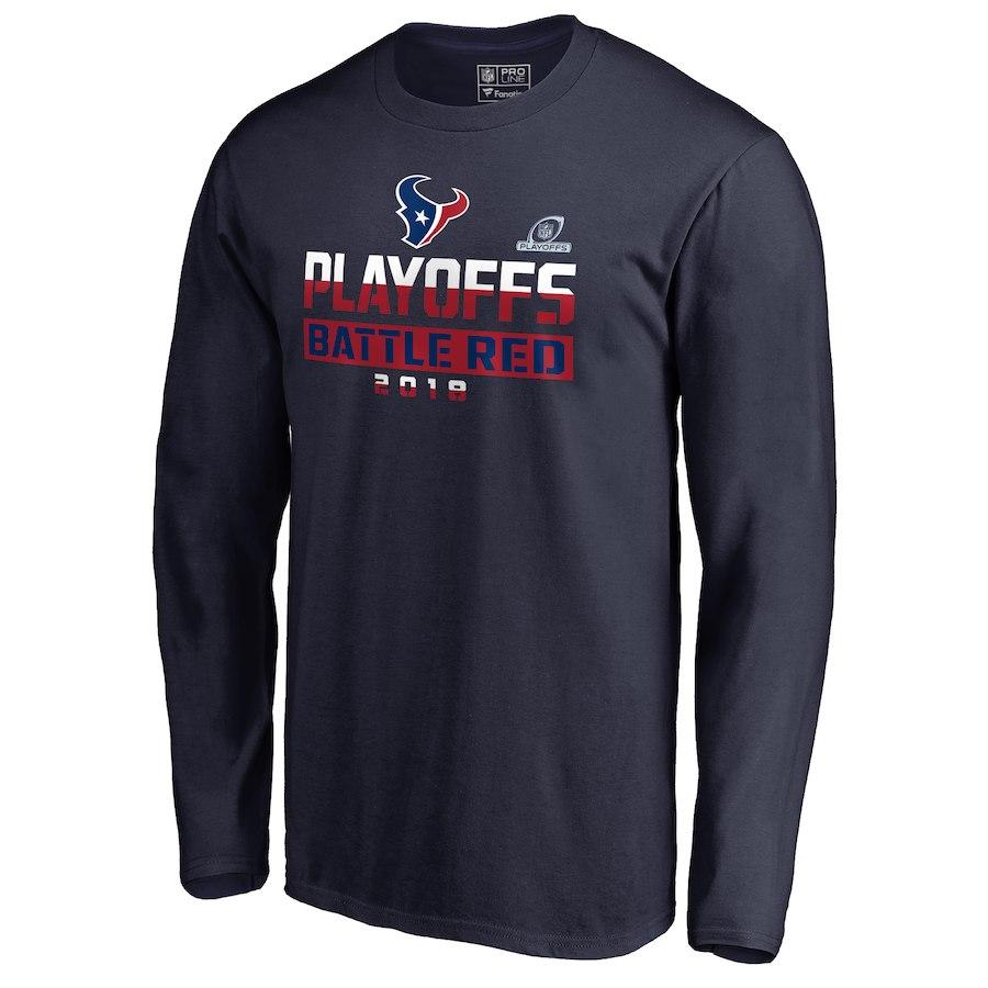 Texans Navy 2018 NFL Playoffs Battle Red Men's Long Sleeve T-Shirt