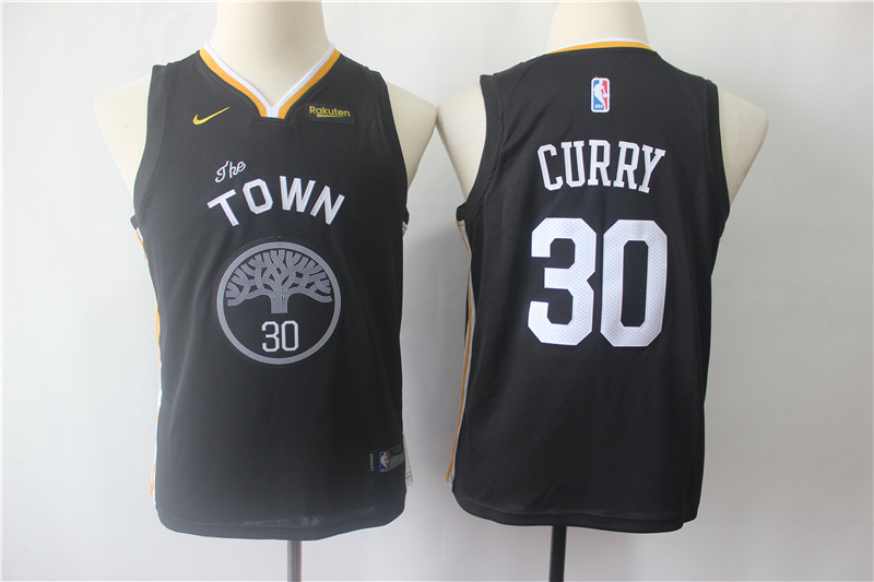 Warriors 30 Stephen Curry Black Youth Statement Edition Nike Swingman Jersey