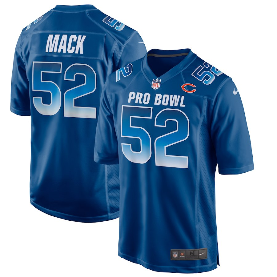 Nike NFC Bears 52 Khalil Mack Royal 2019 Pro Bowl Game Jersey