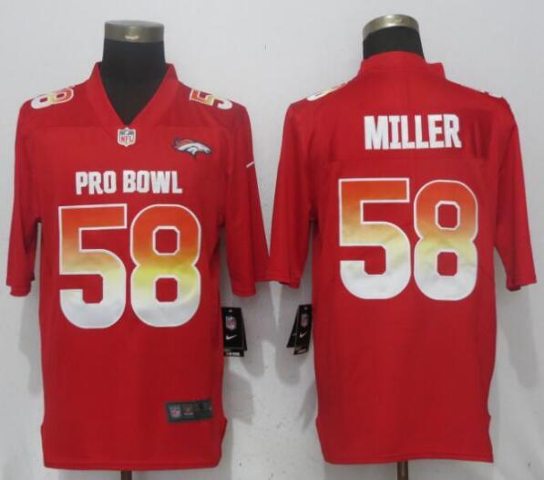 Nike AFC Broncos 58 Von Miller Red 2019 Pro Bowl Limited Jersey