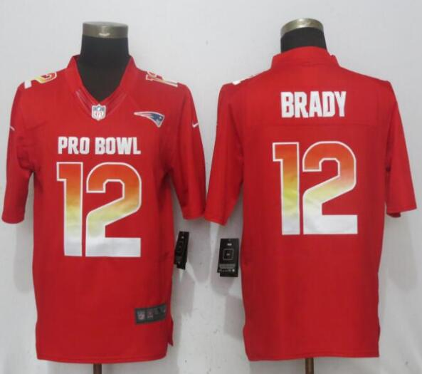 Nike AFC Patriots 12 Tom Brady Red 2019 Pro Bowl Limited Jersey