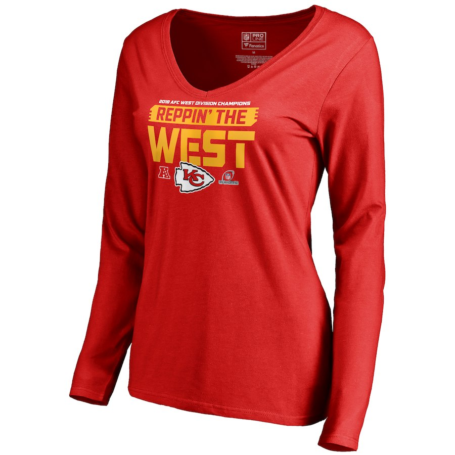 Chiefs Red Women's Long Sleeve 2018 NFL Playoffs Reppin' The West T-Shirt