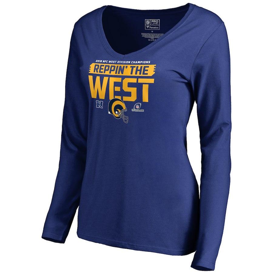 Rams Blue Women's Long Sleeve 2018 NFL Playoffs Reppin' The West T-Shirt