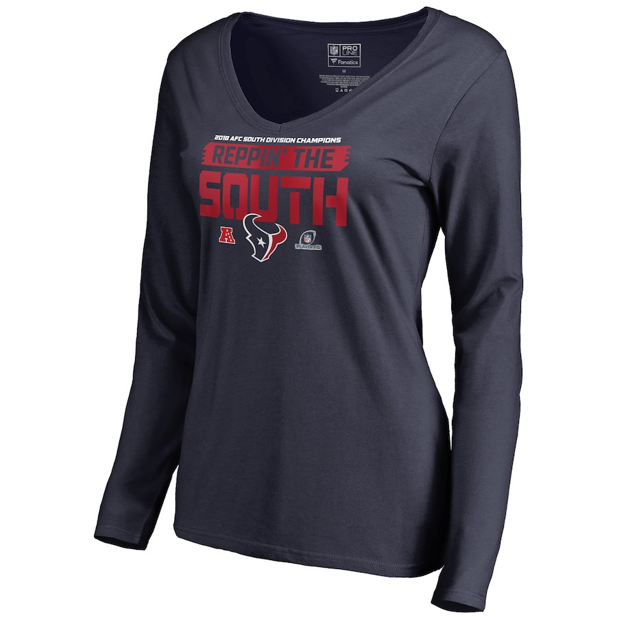 Texans Navy Women's Long Sleeve 2018 NFL Playoffs Reppin' The South T-Shirt