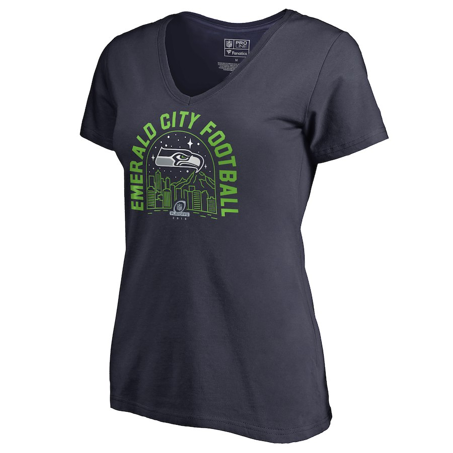Seahawks Navy Women's 2018 NFL Playoffs Emerald City Football T-Shirt