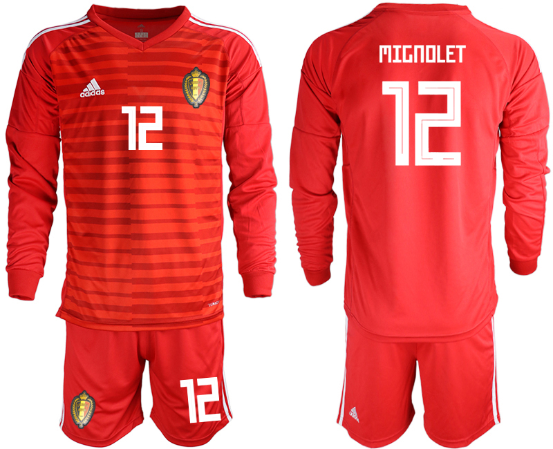 Belgium 12 MIGNOLET Red 2018 FIFA World Cup Long Sleeve Goalkeeper Soccer Jersey