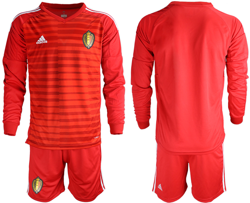Belgium Red 2018 FIFA World Cup Long Sleeve Goalkeeper Soccer Jersey