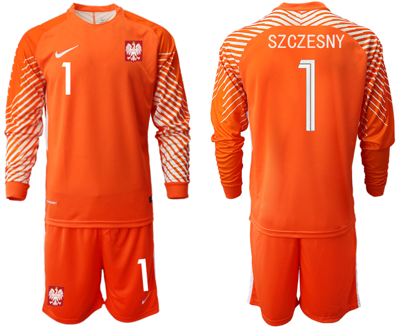 Poland 1 SZCZESNY Orange 2018 FIFA World Cup Long Sleeve Goalkeeper Soccer Jersey