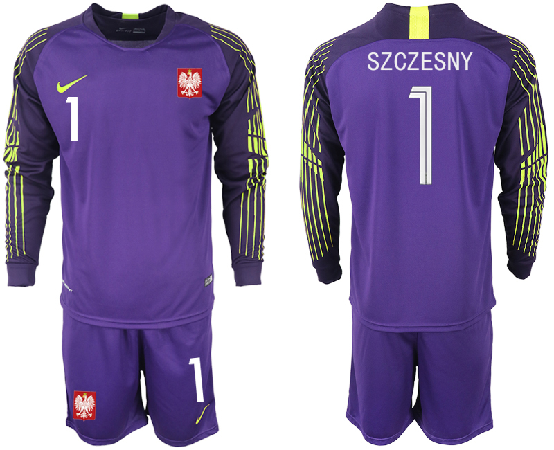 Poland 1 SZCZESNY Purple 2018 FIFA World Cup Long Sleeve Goalkeeper Soccer Jersey