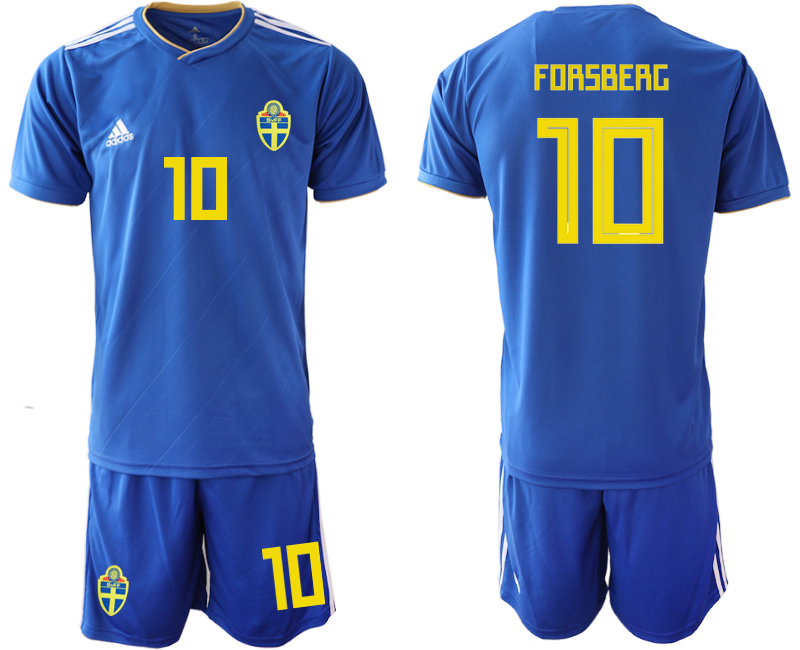 Sweden 10 FORSBERG Away 2018 FIFA World Cup Soccer Jersey