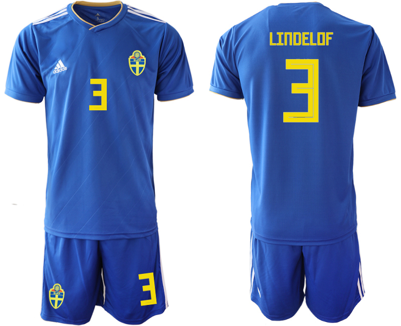 Sweden 3 LINDELOF Away 2018 FIFA World Cup Soccer Jersey