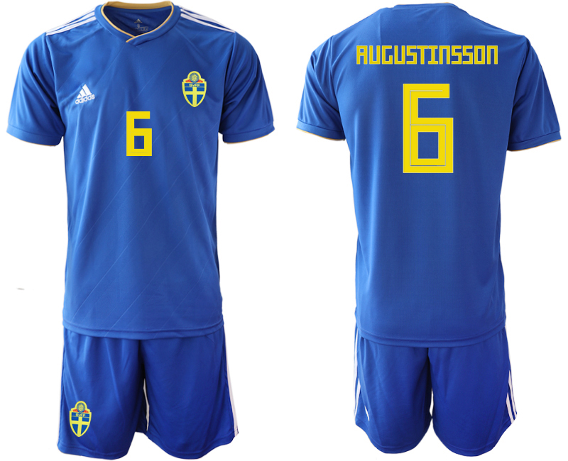 Sweden 6 RUGUSTINSSON Away 2018 FIFA World Cup Soccer Jersey