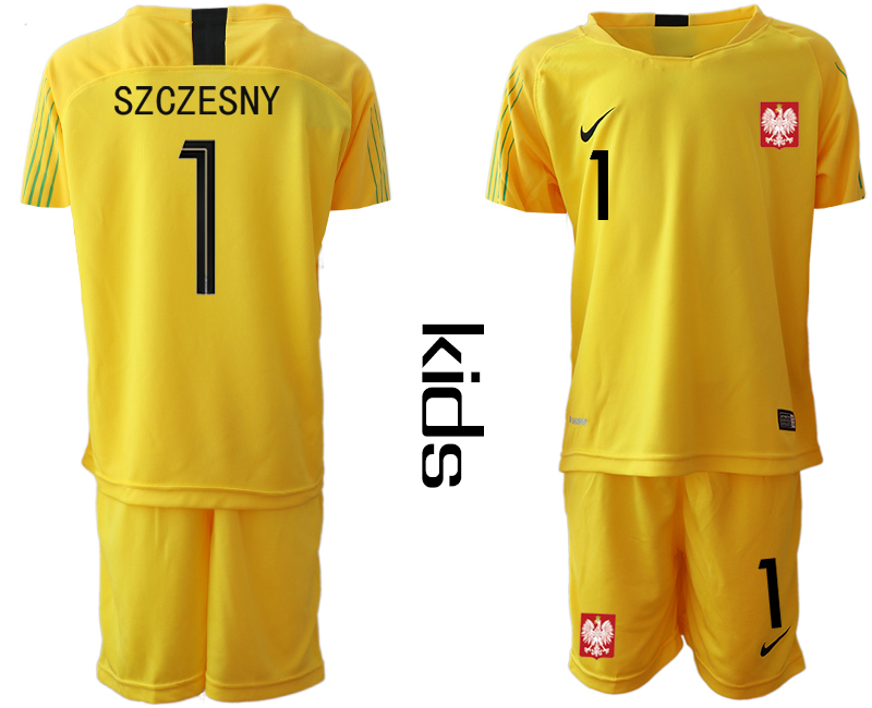 Poland 1 SZCZESNY Yellow Youth 2018 FIFA World Cup Goalkeeper Soccer Jersey