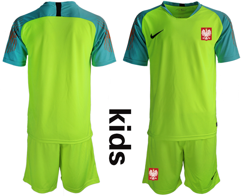 Poland Fluorescent Green Youth 2018 FIFA World Cup Goalkeeper Soccer Jersey