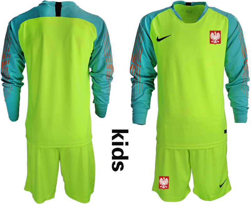 Poland Fluorescent Green Youth 2018 FIFA World Cup Long Sleeve Goalkeeper Soccer Jersey