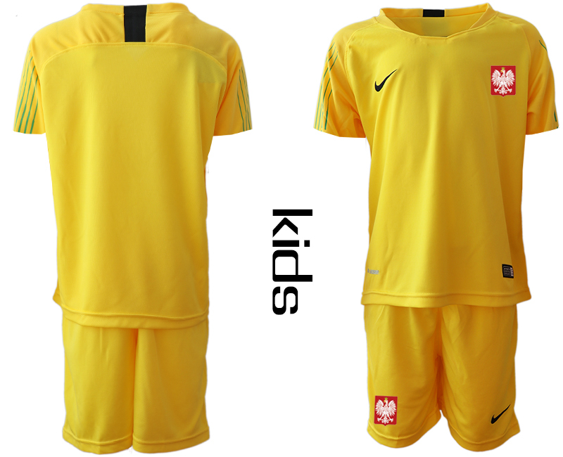 Poland Yellow Youth 2018 FIFA World Cup Goalkeeper Soccer Jersey