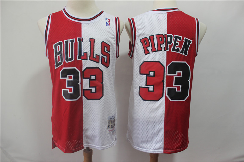 Bulls 33 Scottie Pippen Red White Split 1997-98 Hardwood Classics Jersey