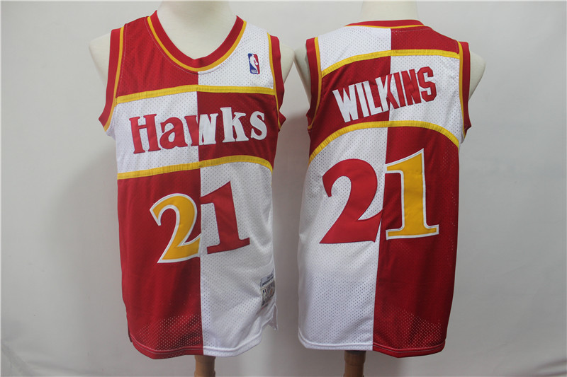 Hawks 21 Dominique Wilkins Red White 1987-88 Hardwood Classics Jersey
