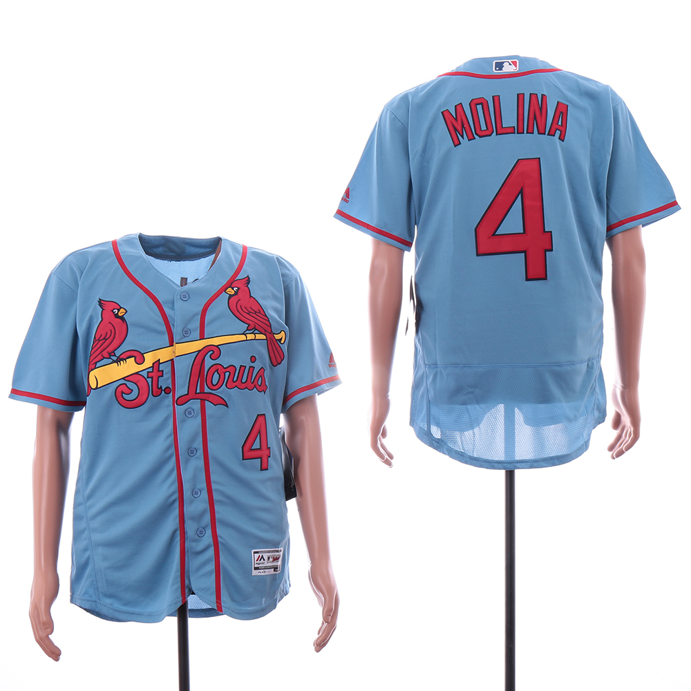 Cardinals 4 Yadier Molina Light Blue Flexbase Jersey