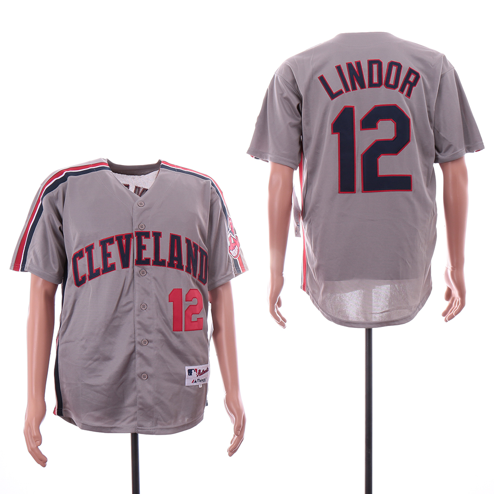 Indians 12 Francisco Lindor Gray Turn Back The Clock Jersey
