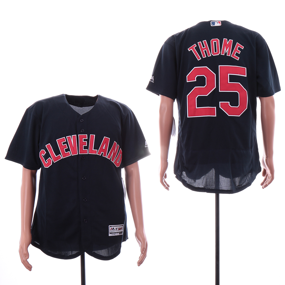 Indians 25 Jim Thome Navy Alternate Flexbase Jersey