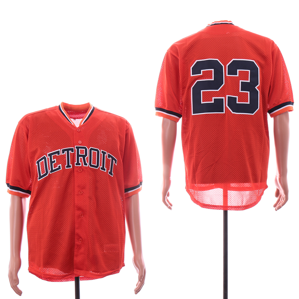 Tigers 23 Kirk Gibson Orange Mesh Throwback Jersey