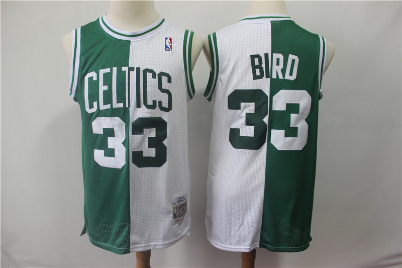 Celtics 33 Larry Bird Green White Split 1985-86 Hardwood Classics Jersey