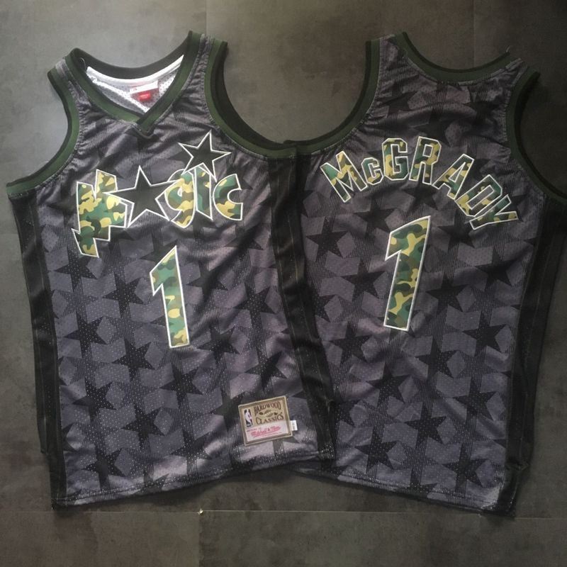 Magic 1 Tracy McGrady Black Camo Hardwood Classics Jersey