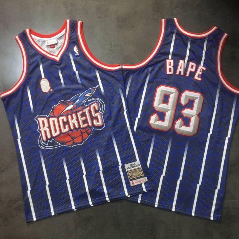 Rockets 93 Bape Navy 2002-03 Hardwood Classics Jersey