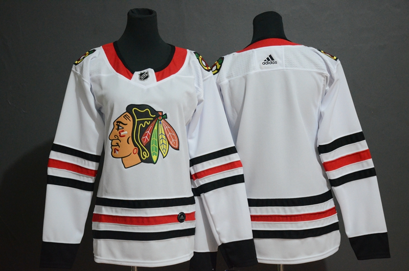Blackhawks Blank White Women Adidas Jersey