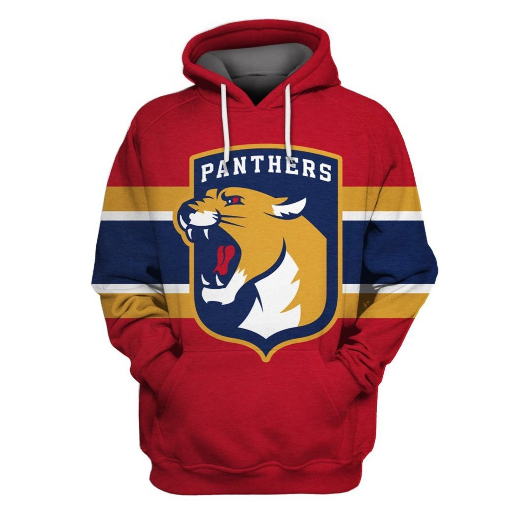 Florida Panthers Red All Stitched Hooded Sweatshirt