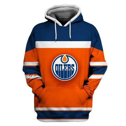Oilers Orange All Stitched Hooded Sweatshirt