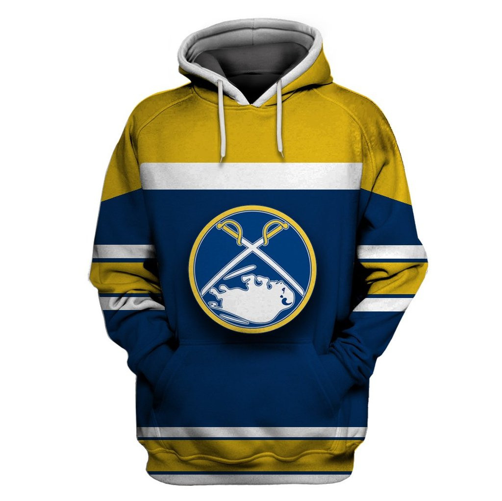 Sabres Blue Gold All Stitched Hooded Sweatshirt