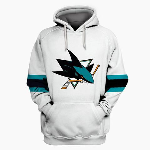 Sharks White All Stitched Hooded Sweatshirt