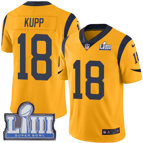 Nike Rams 18 Cooper Kupp Gold 2019 Super Bowl LIII Color Rush Limited Jersey