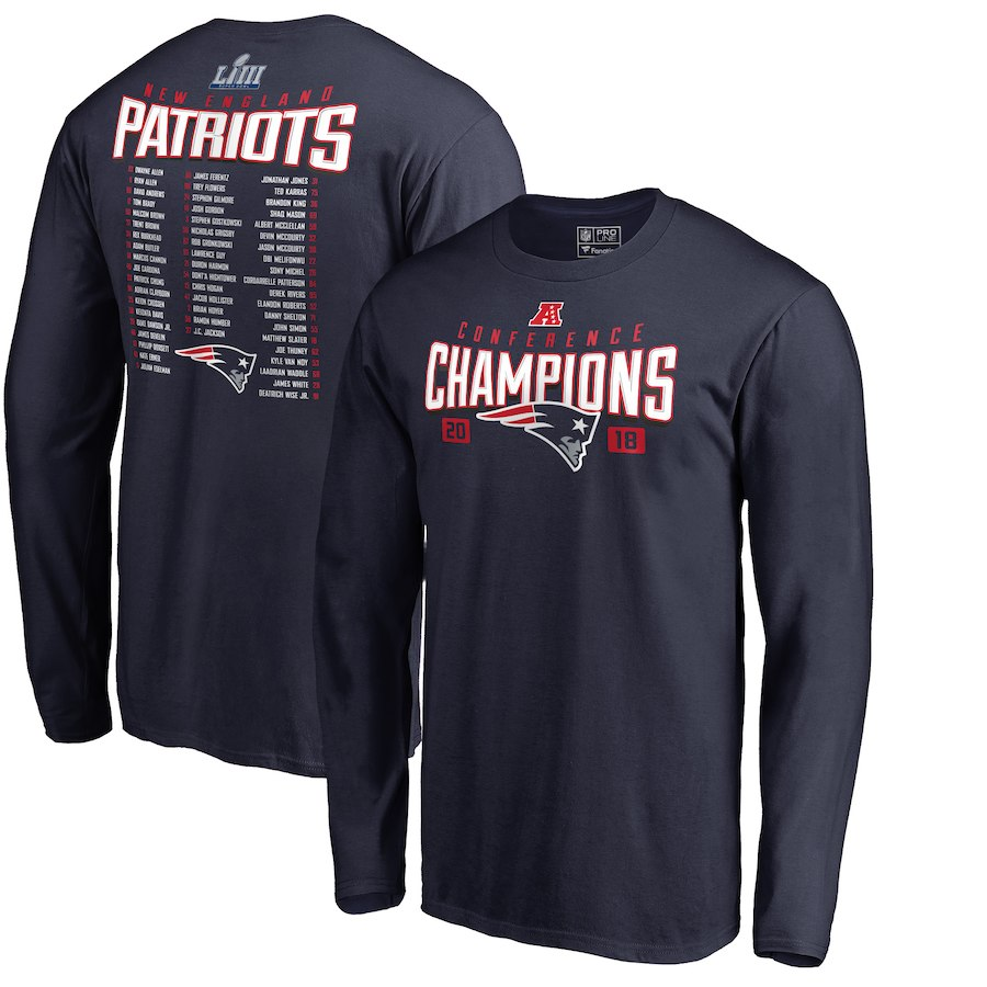 New England Patriots NFL Pro Line by Fanatics Branded 2018 AFC Champions Free Safety Roster Long Sleeve T-Shirt Navy