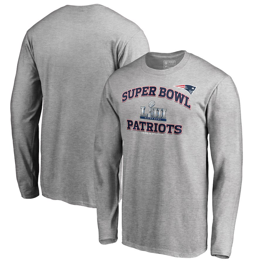 New England Patriots NFL Pro Line by Fanatics Branded Super Bowl LIII Bound Heart & Soul Long Sleeve T-Shirt Heather Gray