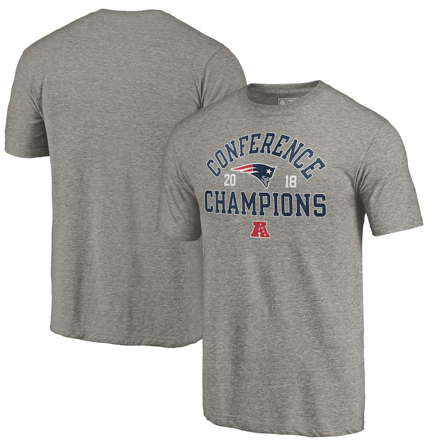 New England Patriots NFL Pro Line by Fanatics Branded 2018 AFC Champions Scrimmage Tri Blend T-Shirt Gray