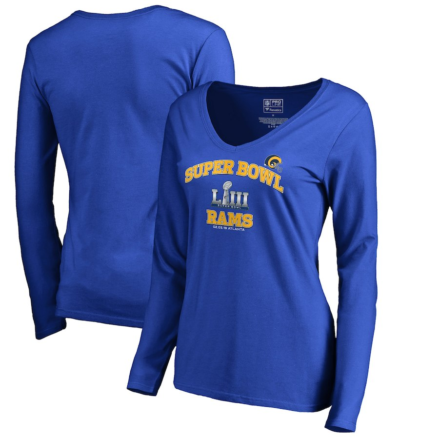 Los Angeles Rams NFL Pro Line by Fanatics Branded Women's Super Bowl LIII Bound Heart and Soul Long Sleeve V Neck T-Shirt Royal